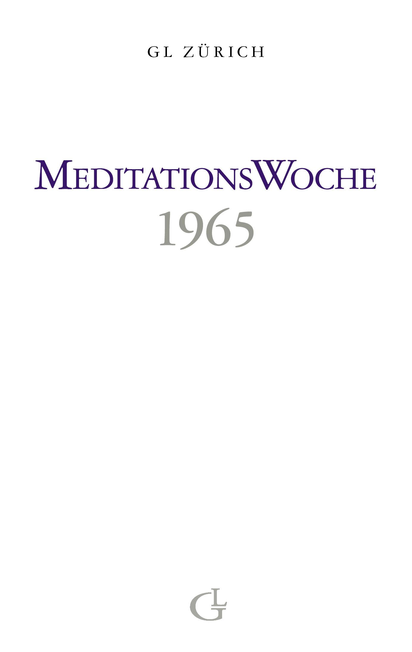 Cover des Buches Meditationswoche 1965 von Medium Beatrice Brunner