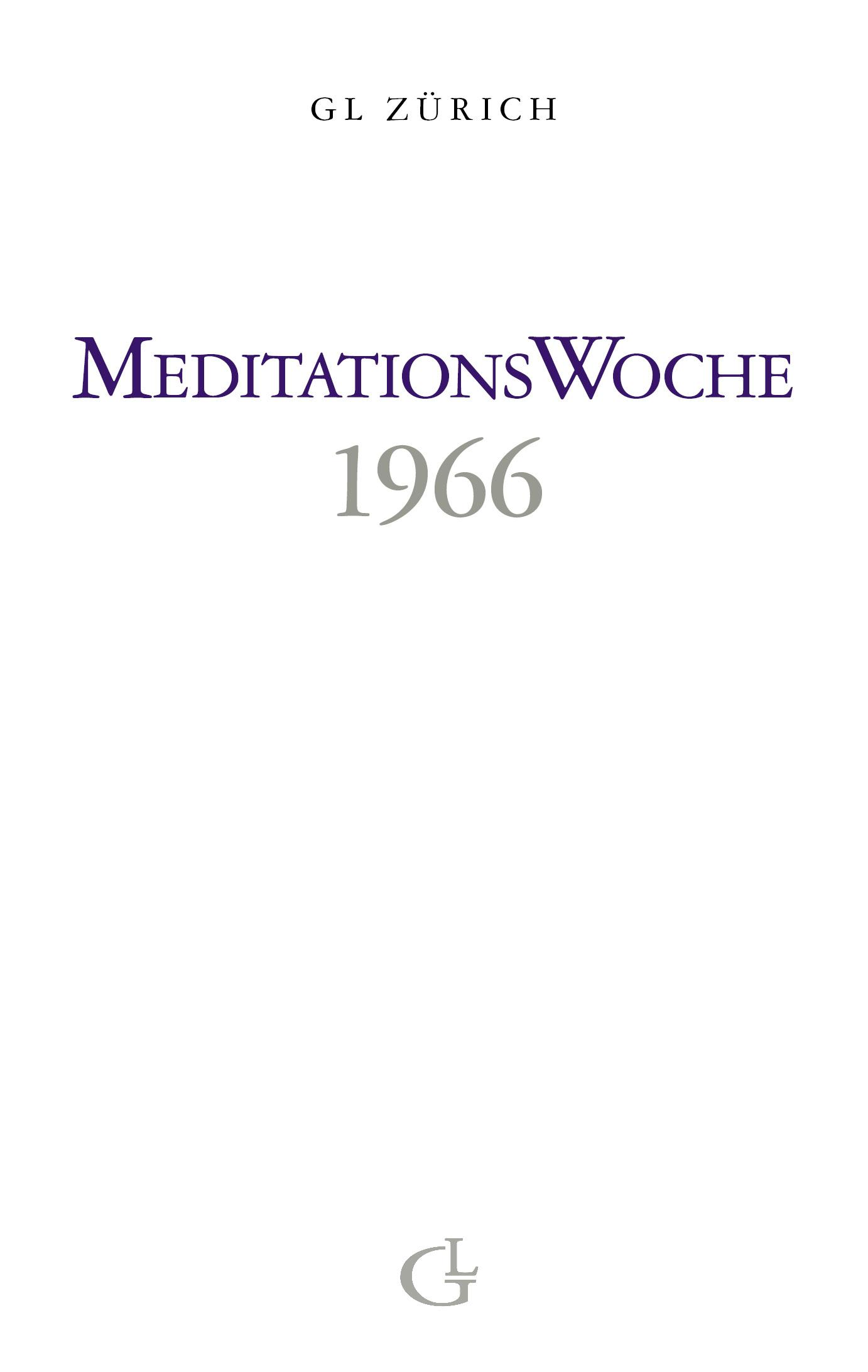 Cover des Buches Meditationswoche 1966 von Medium Beatrice Brunner