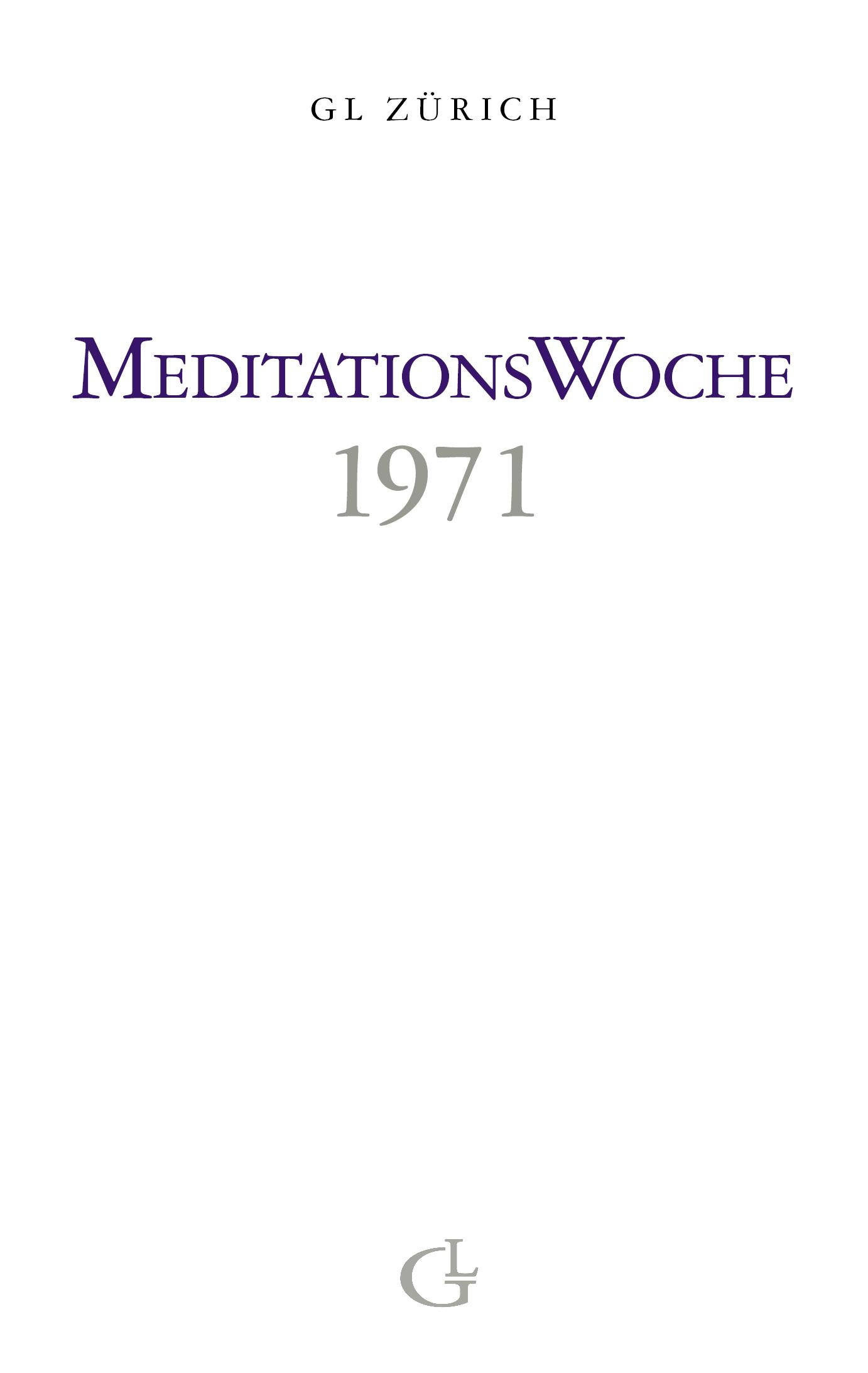 Cover des Buches Meditationswoche 1971 von Medium Beatrice Brunner