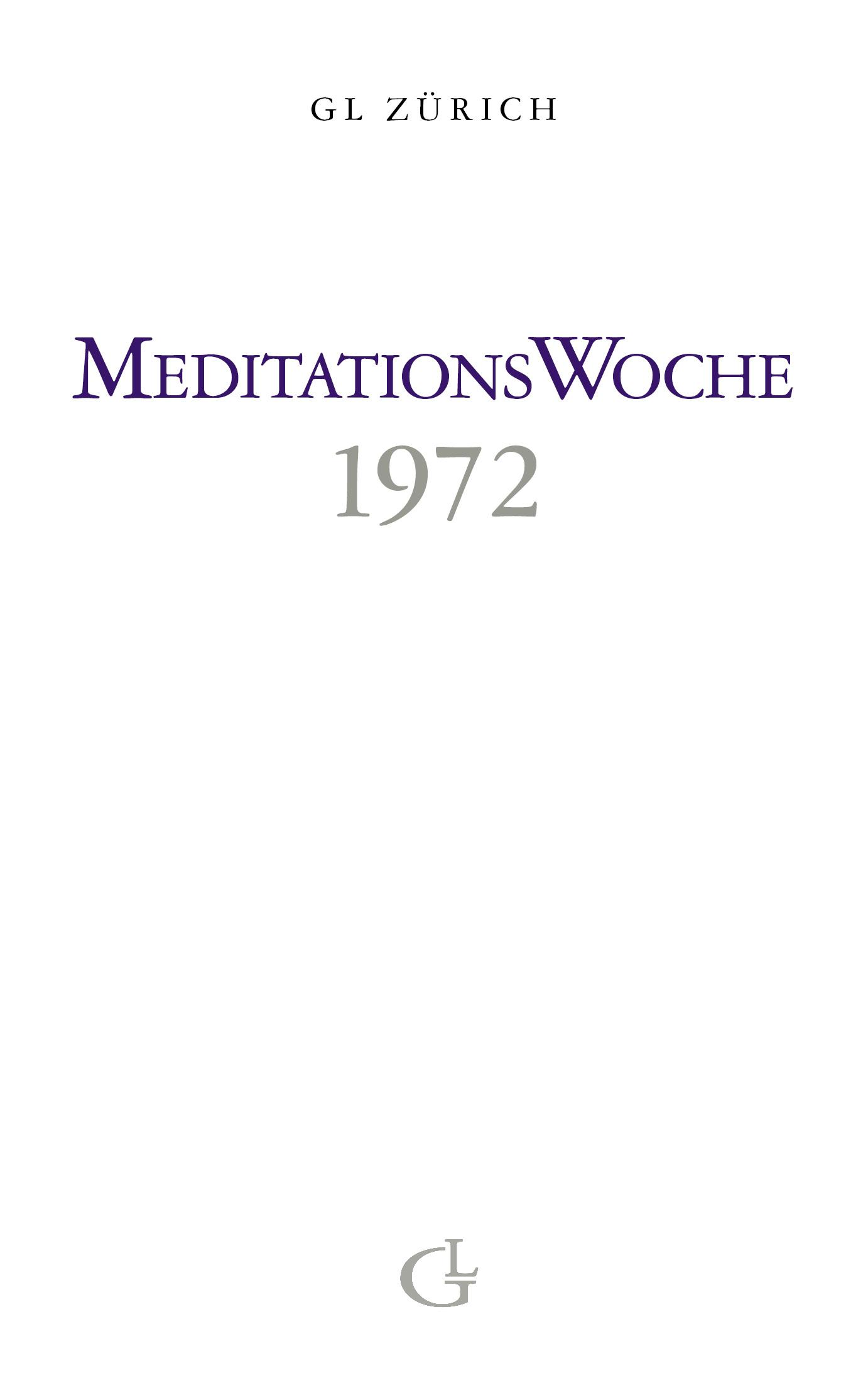 Cover des Buches Meditationswoche 1972 von Medium Beatrice Brunner